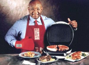 Note how one hand is touching the hot surface of the grill, and yet the other hand is wearing a protective mitt.