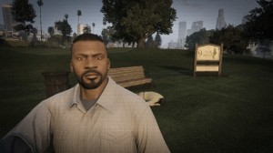 Franklin continues to enjoy golf, and doesn't want you to look at what's in the background of his picture.