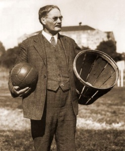 I can't believe there is literally a picture of James Naismith with a ball in one hand and a basket in the other.