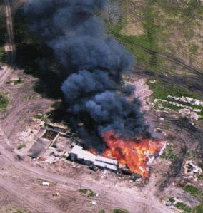 """This image of the siege is the very first google image search result for """"Waco"""", which really sucks for a town with a rich history like that other time it exploded just last April."""