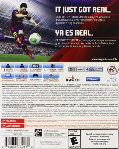 "This is the back of the box for FIFA 14. I refuse to believe ""Ya Es Real"" is real Spanish and not someone faking Spanish."